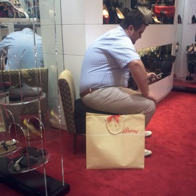 Waiting Man Dubai mall Christian Leboutin